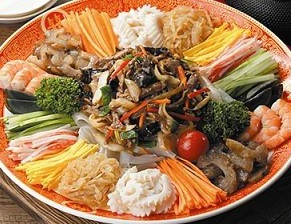 Yang Jang Pi - 양장피 - Mixed Seafood, Meat and Vegetables w/ Hot Mustard Sauce